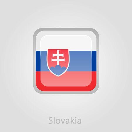 slovakia flag: Slovakia flag button, isolated vector illustration eps 10 Illustration