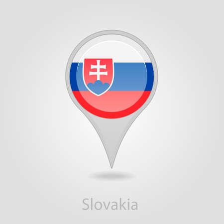 flag pin: Slovakia flag pin map icon, isolated vector illustration eps 10