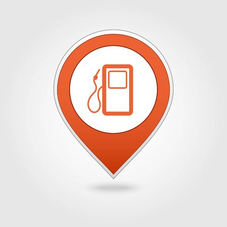 benzine: Gas Station map pin icon, map pointer, vector illustration eps 10