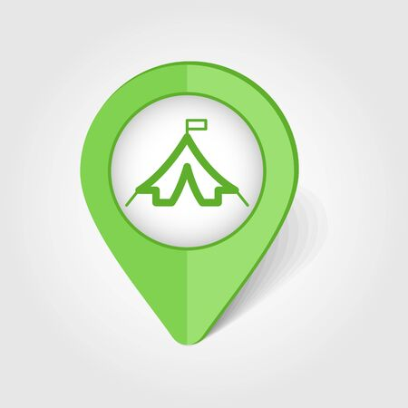 Tent map pin icon, map pointer, vector illustration eps 10 Vettoriali