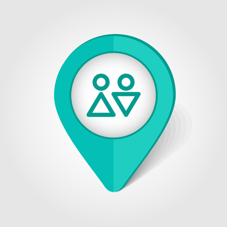 sex positions: WC map pin icon, map pointer, vector illustration eps 10