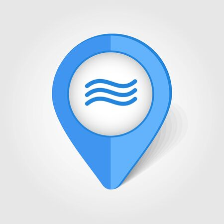 water icon: Water waves map pin icon, map pointer, vector illustration eps 10