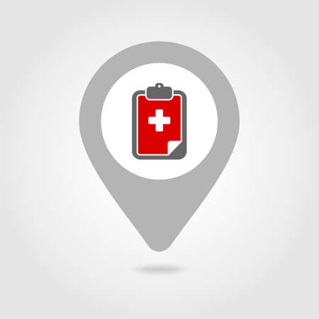 medical clipboard: Clipboard medical map pin icon, map pointer, vector illustration eps 10 Illustration