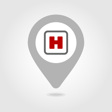 hospital sign: Hospital sign map pin icon, map pointer, vector illustration eps 10 Illustration
