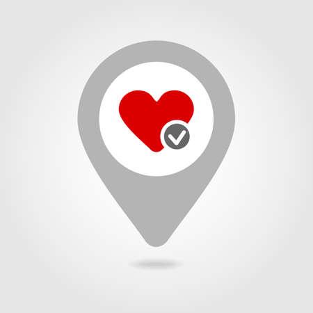 position d amour: Coeur carte m�dicale broche ic�ne, pointeur de carte, vecteur eps 10 Illustration