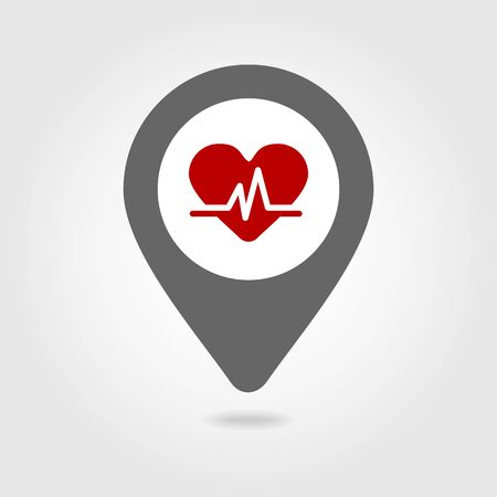 pulse: Blood pressure medical map pin icon, map pointer, vector illustration eps 10