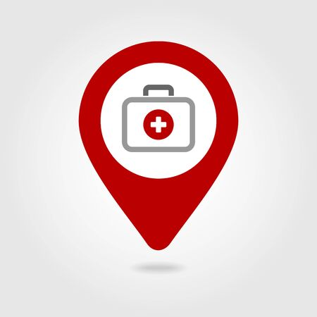navigation aid: First aid kit medical map pin icon, map pointer, vector illustration eps 10