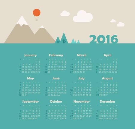 week: Calendar for 2016 with mountain. Week Starts Sunday.