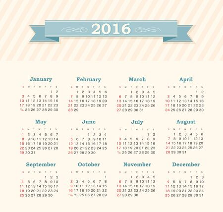 week: Calendar for 2016. Week Starts Sunday