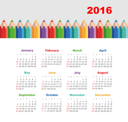 july calendar: Calendar for 2016 with a pencil. Week Starts Sunday. Illustration