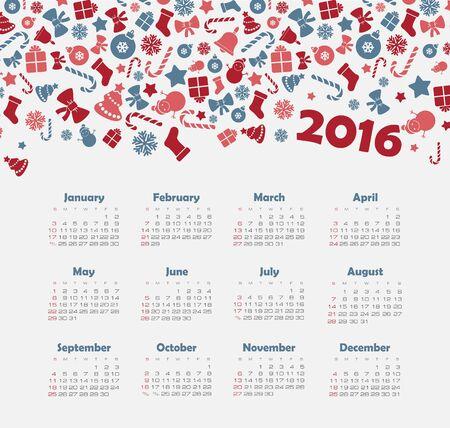 calendario julio: Calendario para 2016 con el patrón de la Navidad. La semana comienza el domingo. Vectores
