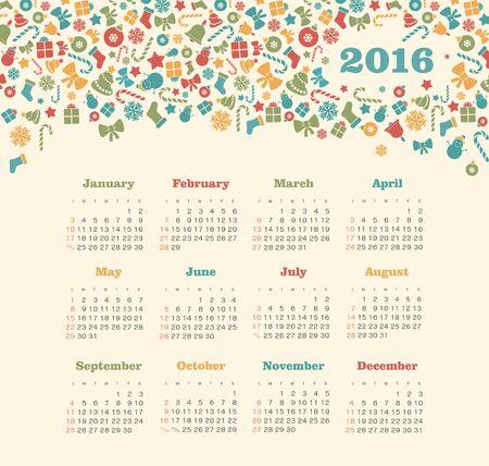 week: Calendar for 2016 with Christmas pattern. Week Starts Sunday.  Illustration