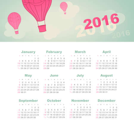 aerostat: Calendar for 2016 with balloon, sky, cloud, aerostat. Week Starts Sunday. Illustration