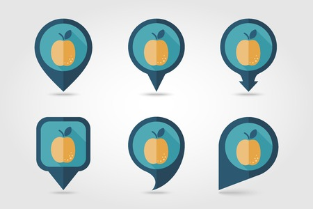 mapping: Apricot mapping pins icons with long shadow Illustration