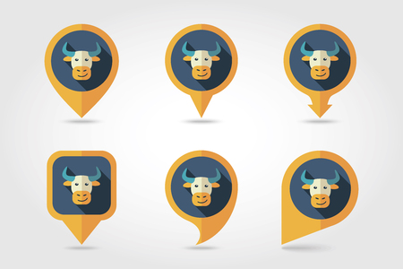 mapping: Bull mapping pins icons with long shadow