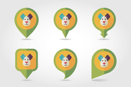 mapping: Dog mapping pins icons with long shadow, eps 10