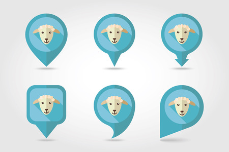 mapping: Sheep mapping pins icons with long shadow