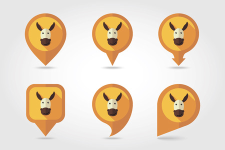 mapping: Donkey mapping pins icons with long shadow