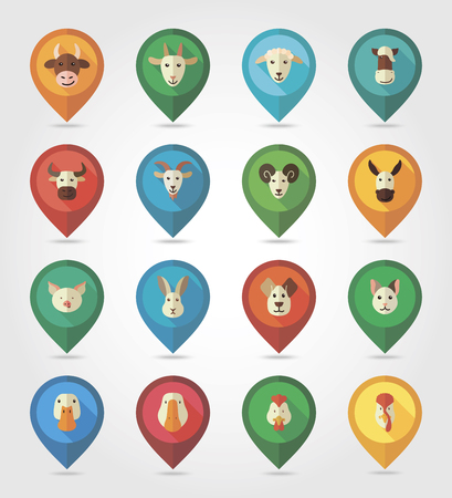 Farm animals mapping pins icons with long shadow