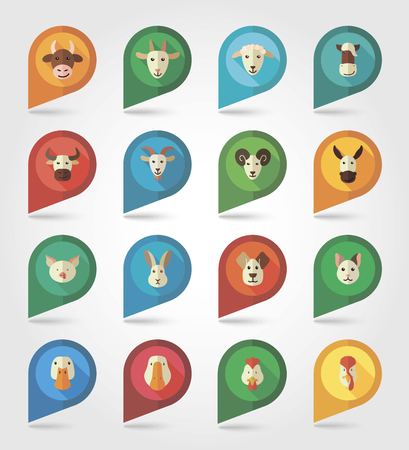 mapping: Farm animals mapping pins icons with long shadow