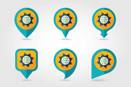 mapping: Sunflower mapping pins icons with long shadow