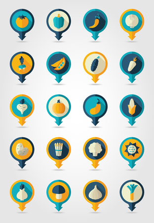 corn flower: Vegetable mapping pins icons with long shadow Illustration