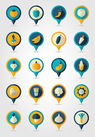 corn flower: Vegetable mapping pins icons with long shadow, eps 10 Illustration