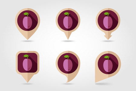 mapping: Plum mapping pins icons with long shadow