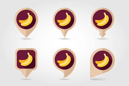 mapping: Banana mapping pins icons with long shadow Illustration