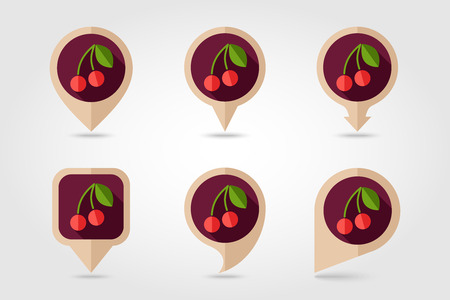 mapping: Cherry mapping pins icons with long shadow