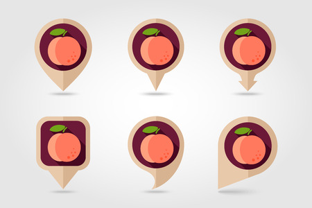 mapping: Peach mapping pins icons with long shadow Illustration