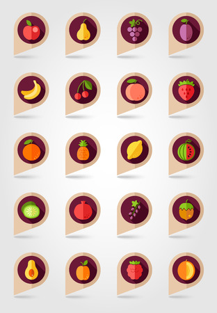 mapping: Fruits mapping pins icons with long shadow