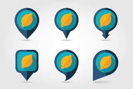 mapping: Lemon mapping pins icons with long shadow