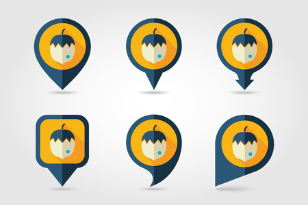 mapping: Nut mapping pins icons with long shadow Illustration