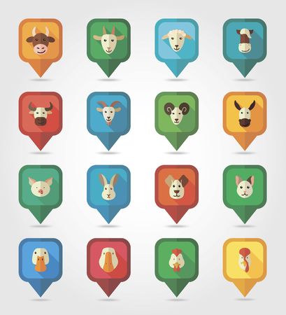 cock duck: Farm animals mapping pins icons with long shadow