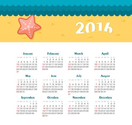 week: Sea Calendar for 2016. Week Starts Sunday.