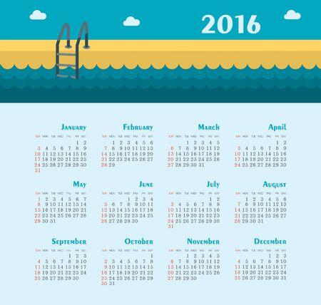 pool: Sea Calendar for 2016. Week Starts Sunday.
