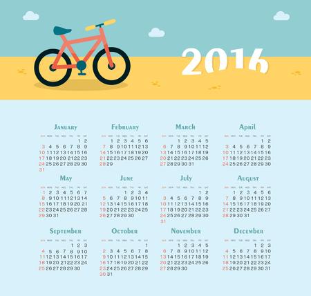 summer season: Sea Calendar for 2016. Week Starts Sunday.
