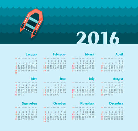 week: Sea Calendar for 2016. Week Starts Sunday.  Illustration