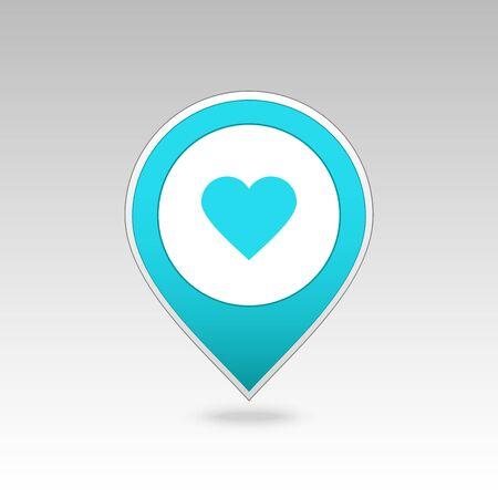 position d amour: Goupille de coeur carte ic�ne. Carte pointeur. Marqueurs de carte. Vector illustration EPS10