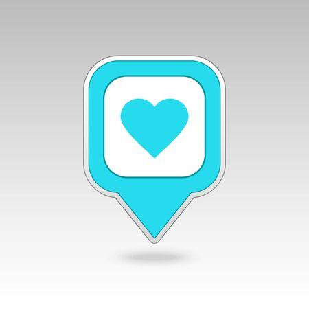 position love: Goupille de coeur carte ic�ne. Carte pointeur. Marqueurs de carte. Vector illustration EPS10