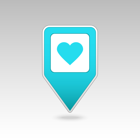position d amour: Heart pin map icon. Map pointer. Map markers. Vector illustration EPS10