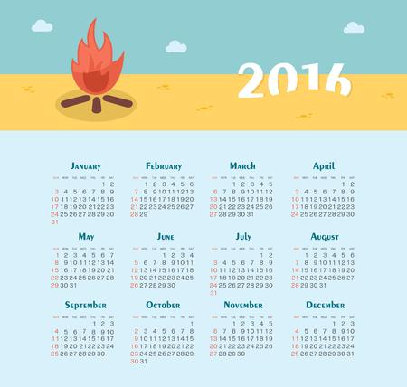 week: Calendar for 2016. Week Starts Sunday. EPS 10