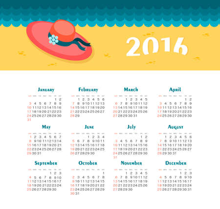 week: Sea Calendar for 2016. Week Starts Sunday. EPS 10