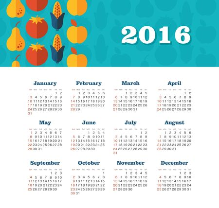 dates fruit: Calendar for 2016. Week Starts Sunday. EPS 10