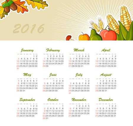 date fruit: Calendar for 2016. Week Starts Sunday. EPS 10