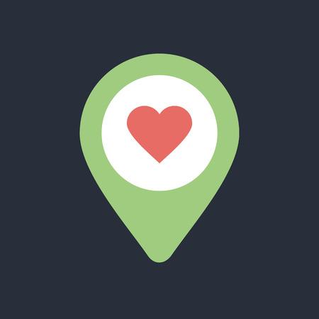 position d amour: Goupille de coeur carte icône. Carte pointeur. Marqueurs de carte. Vector illustration EPS10