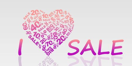 cost reduction: I love sale tag vector isolated, eps 10