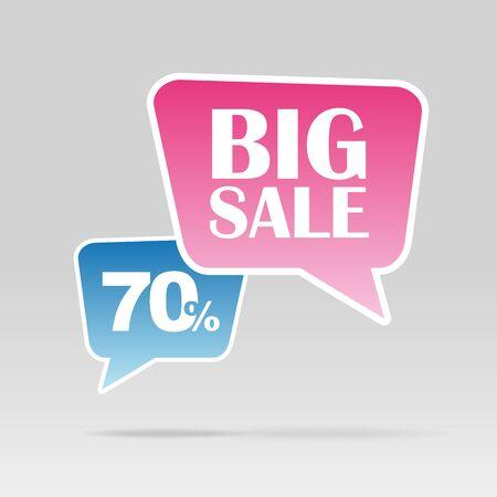 cost reduction: Retail Sale speech bubble discount. Big sale. 70 percent Illustration