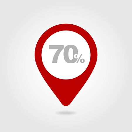 seventy: 70 seventy Percent Retail Sale Discount pin map icon. Map pointer, markers.